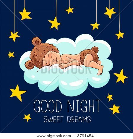 Quote Good night. Sweet Dreams. The trend calligraphy. Vector illustration on a blue background. The baby in bear costume sleeping on a cloud