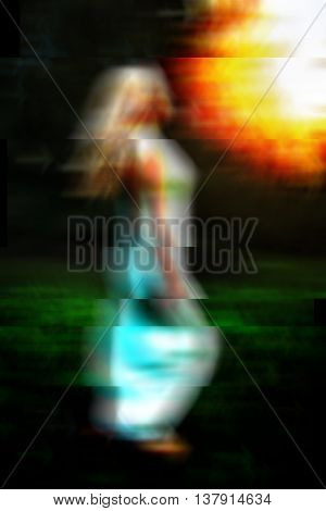 Glitch art abstract portrait of barefoot woman running on green grass outdoors