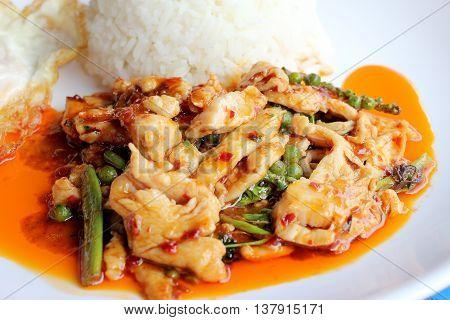 Stir Fried Spicy Chicken. Thai Spicy Herb Food