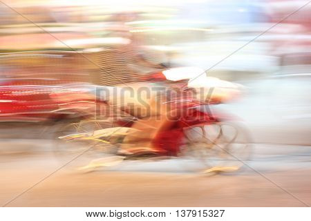 Street Lights In Speeding Motorcycle Driver At Night Time, Light Motion And Moto With Slow Speed Shu