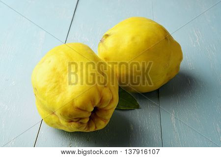 two fresh yellow quinces fruit on rustic wooden table