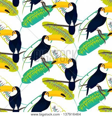 Toco toucan bird on banana leaves seamless vector pattern on white background. Tropical jungle leaf and exotic bird sitting on branch.