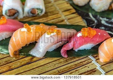 Sushi Salmon tuna and hamachi set