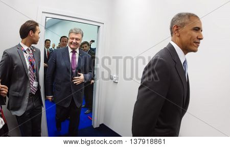 President Of Ukraine Petro Poroshenko And Us President Barack Obama