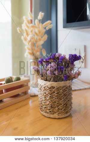 Dried flower in vase Bouquet of dried flowers in vase. Dried flower for interior decoration. Interior object(selective focus)