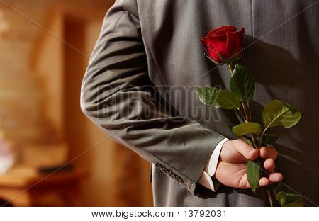 Photo of man in suit holding a red rose behind his back