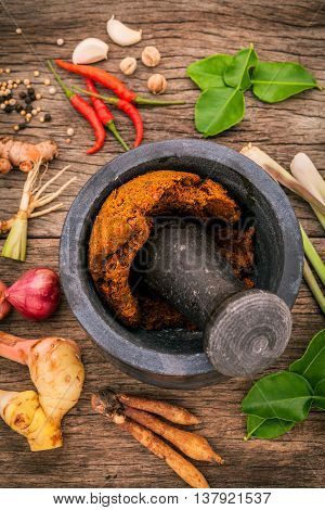 Assortment Of Thai Food Cooking Ingredients And Spice Red Curry Paste Ingredient Of Thai Popular Foo
