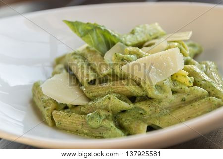 Spring Penne With Spinach Pesto And Green Pea