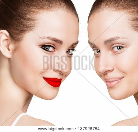 Comparison portrait of young woman with and without makeup