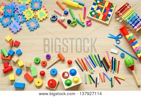 Toys and stationery for kids to play and learn / Back to school concept