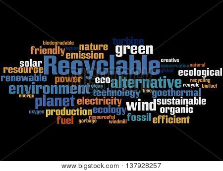 Recyclable, Word Cloud Concept 7