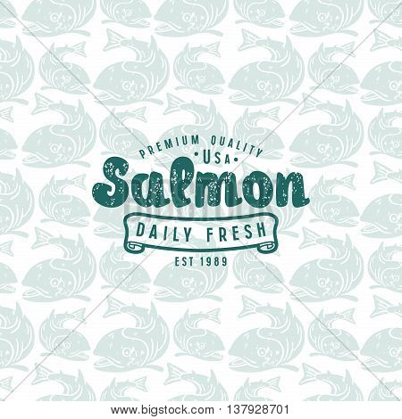 Stock vector seamless pattern with a picture of salmon and label