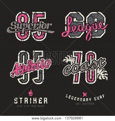 Set of sport design elements for emblems. Graphic design for t-shirt. Color print on black background