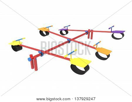 3d illustration of children seesaw. icon for game web. white background isolated. happy childhood.
