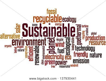 Sustainable, Word Cloud Concept 2