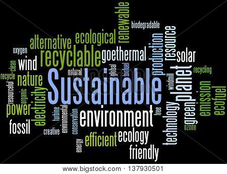 Sustainable, Word Cloud Concept 5