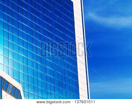 Bottom View Of Modern High Rise Building In The Port Of Odessa In The Sunset At The End Of The Day