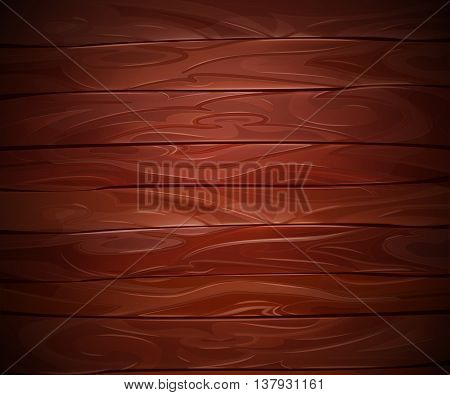 Realistic Mahogany wooden vector background. Abstract dark wood board