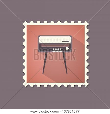 Retro style radiogram flat stamp with shadow. Vector illustration.