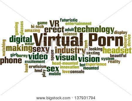 Virtual Porn word cloud concept on white background. poster
