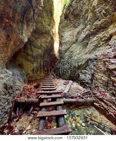 Canyon in a Slovensky Raj in Slovakia