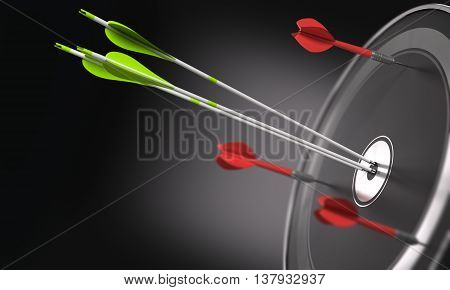 Three green arrows hitting the center of a black target and 3 darts out of the objective. Business strategy or competitive advantage concept. Space for text can be added on the left side of the image. 3D illustration