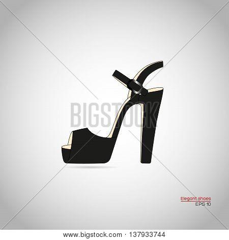 Female platform high heel shoe in black color. Vector illustration.