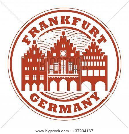 Grunge rubber stamp with words Frankfurt, Germany inside, vector illustration
