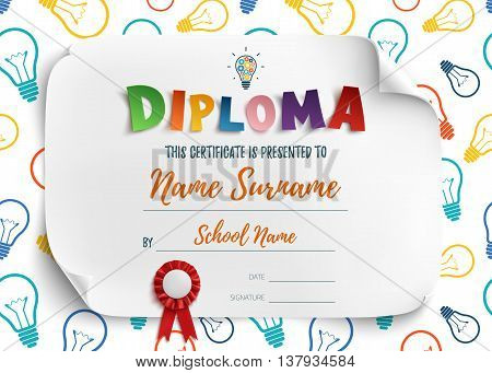 Diploma template for kids school preschool playschool, certificate background. Vector illustration