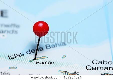 Roatan pinned on a map of Honduras