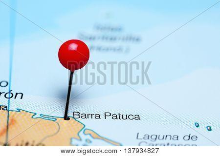Barra Patuca pinned on a map of Honduras