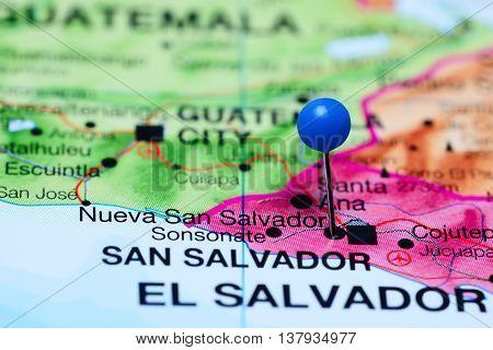 Nueva San Salvador pinned on a map of El Salvador