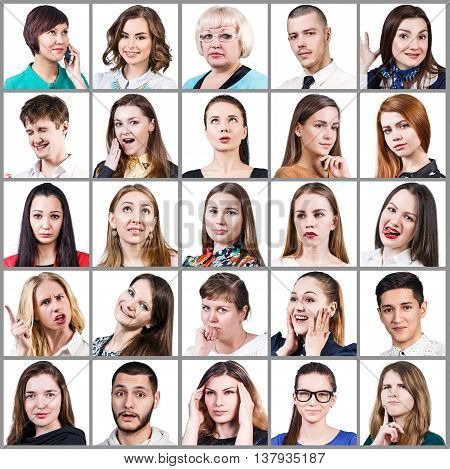 Collage of diverse people expressing different emotions isolated on white background