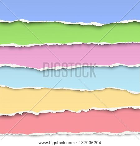 Oblong layers of torn pastel color papers placed one over another