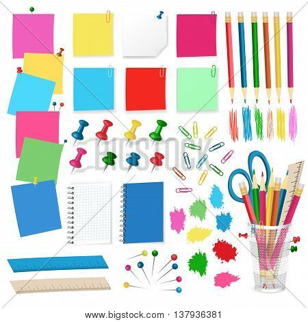 pushpins, pins, thumbtacks, paper stickers, pencils - Office supplies vector isolated on white background. Vector illustration