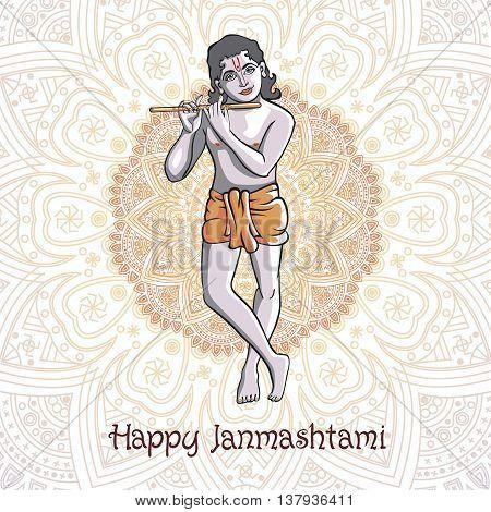Krishna Janmashtami - Hindu Festival. Hare Krishnas. Golden Krishna Playing A Flute On A Black Backg