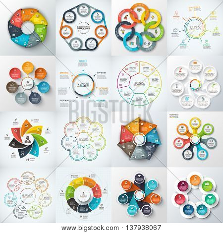 Big set of vector heptagons, circles and other elements for infographic. Template for cycle diagram, graph. Business concept with 7 options, parts, steps.