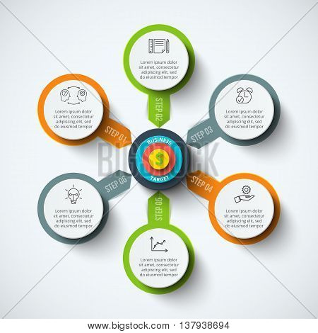 Vector circle infographic with target. Template for cycle diagram, graph, presentation and round chart. Business concept with 6 options, parts, steps or processes. Data visualization.