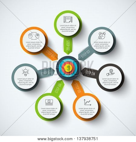 Vector circle infographic with target. Template for cycle diagram, graph, presentation and round chart. Business concept with 7 options, parts, steps or processes. Data visualization.