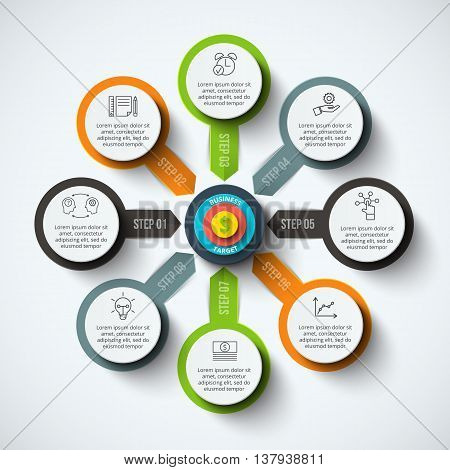 Vector circle infographic with target. Template for cycle diagram, graph, presentation and round chart. Business concept with 8 options, parts, steps or processes. Data visualization.