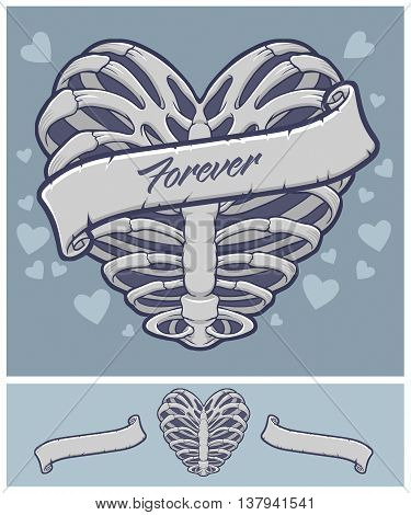 Heart Vector Stock with Ribbon in Skeletal Form