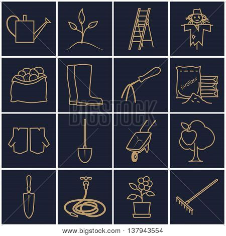 Set of Garden Tools, Line Icons Gardening Equipment ,Agricultural Tool, Gold Icons on a Dark Background, Vector Illustration