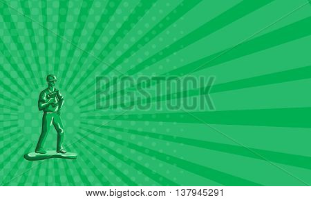 Business card showing illustration of a green plastic toy construction worker standing wearing hard hat holding nailgun and other hand on hips viewed from front set on isolated white background done in retro style.