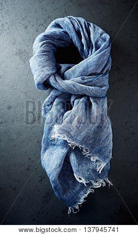 Indigo linen shawl