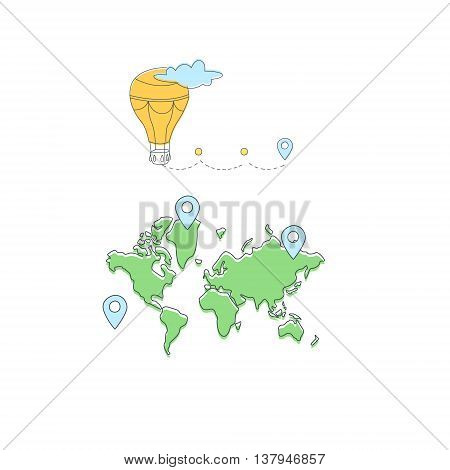 Travelling The World On Hot Air Balloon Light Color Flat Cute Illustration In Simplified Outlined Vector Design