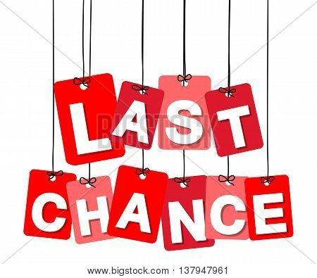 Vector colorful hanging cardboard. Tags - last chance on white background