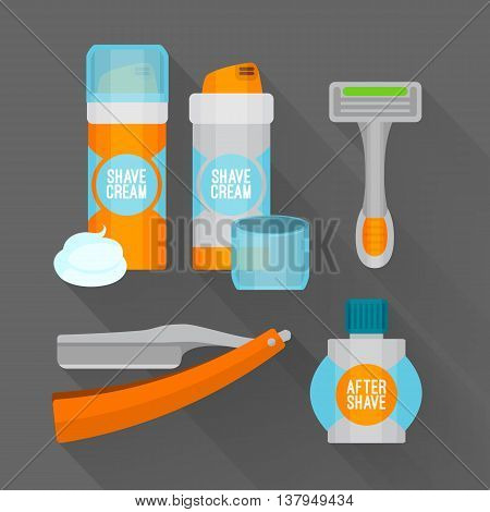 After shave flat icon set. Shaving razor, shaving foam, after shave balm icons.