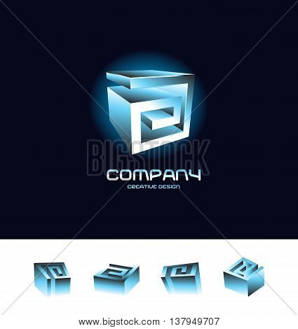 Vector company logo icon element template 3d blue cube abstract set blue glow black background