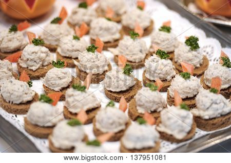 Crab blini hors d'oeuvre platter, buffet lunch