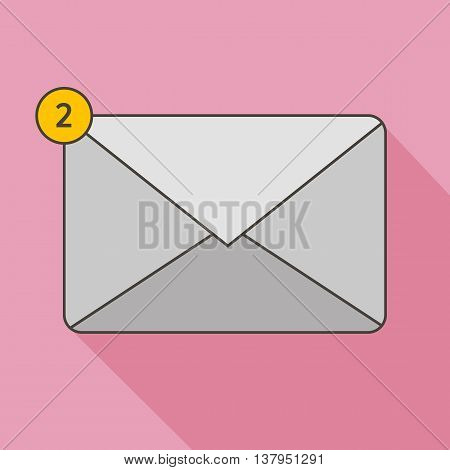 Flat design outlined envelope icon with unread messages on pink background.